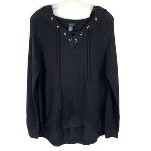 Rue 21 Black Knit Lace Up V-Neck Hooded Sweater
